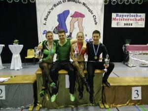 Die Titelgewinner Anja Gentner und Christian Gartmeier mit Lea Vodermaier und Jonas Brauer (v.l.n.r.)
